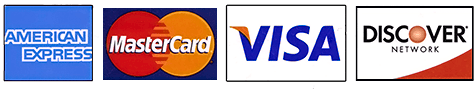 we accept Visa, Mastercard, American Express, and Discover!